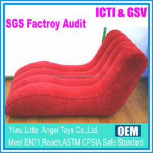 PVC inflatable recliner/ PVC inflatable flocking sofa chair/single seater sofa chairs
