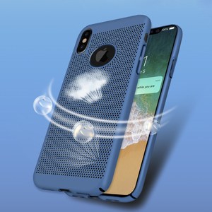 Free Sample Fancy Heat Radiation Mesh Case Hard PC Back Cell Phone Case Cover For iPhone X