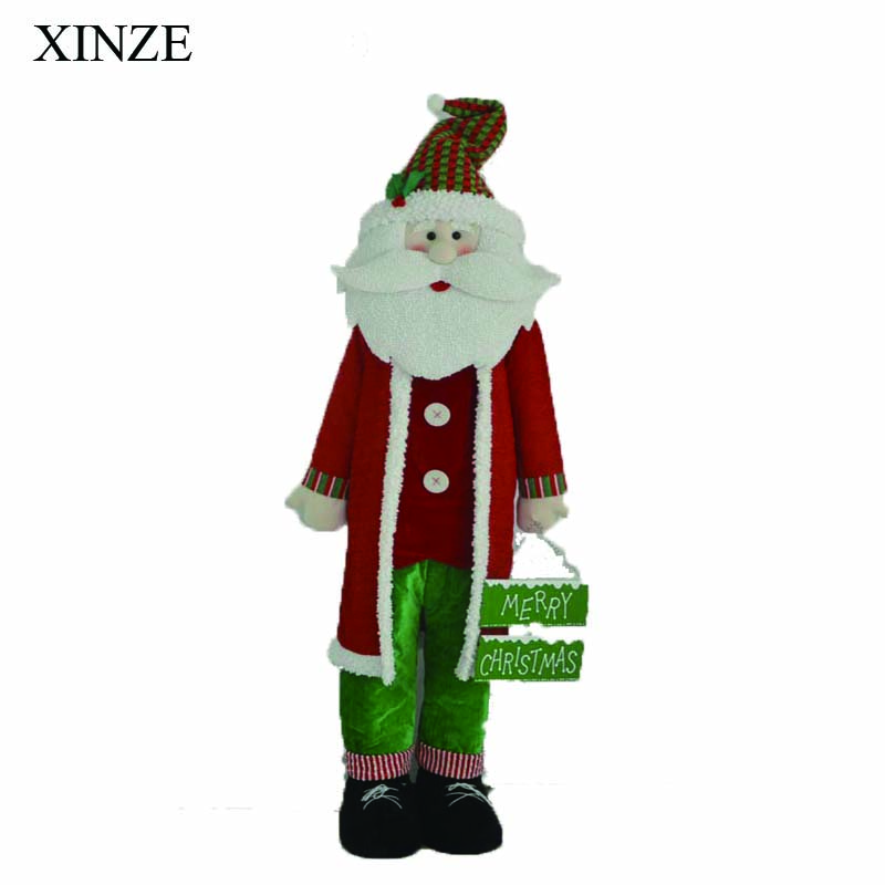 lifesize big standing stuffed santa clause figurine for christmas