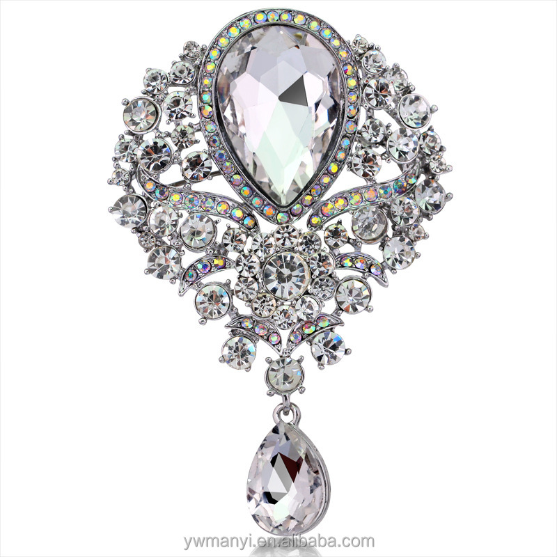 Hot sale wholesale large crystal rhinestone shawl pin brooch B0111605