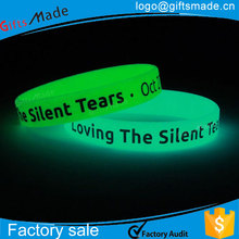 kids wrist bands silicone/screen printing glow in the dark