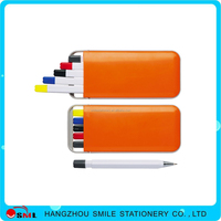 plastic various color pen highlighter pen pencil stationery sets for promotional