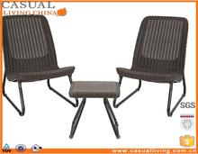 3 Pc Plastic Resin wicker Outdoor Patio Garden Conversation Chair & Table Set Furniture