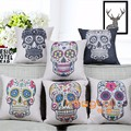 Sofa Cushion Digital Skull Print Photo Custom Custom Wholesale Cushion Cover Throw Pillow Case Manufacturers HT-CPILPC-B-01-06