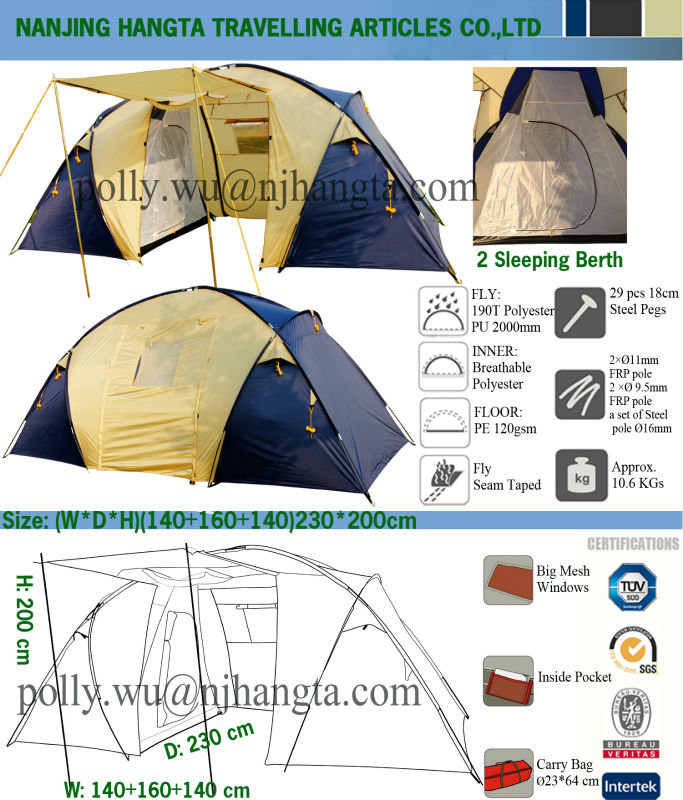 79 Inch Tall Seam Taped 2 Sleeping Berth 4 Man Family Camping Tent Reviews