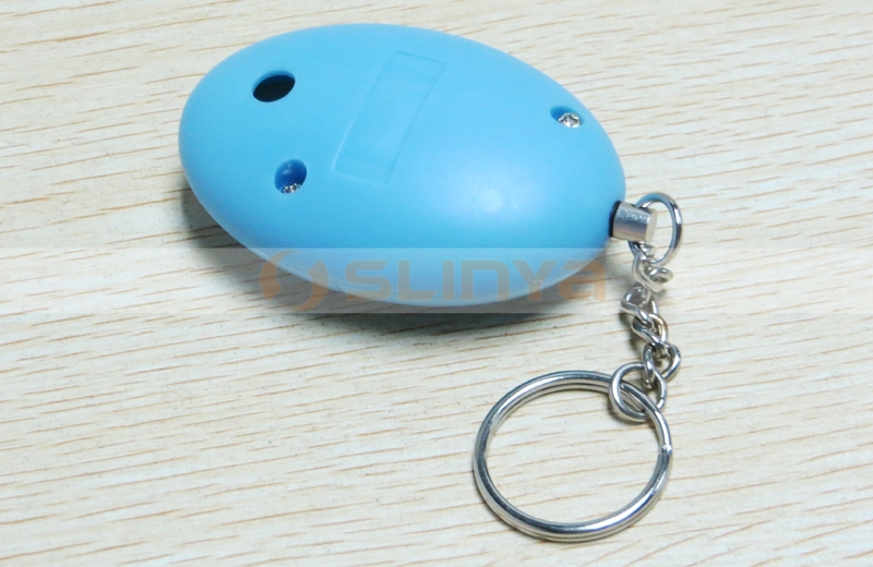Super Bright LED Spotlight Personal Alarm Keychain Support Attack Trigger Siren