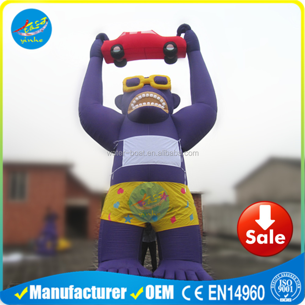 Best Sale Advertising Inflatable Gorilla Holding Red Car