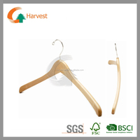 Wooden hanger in natural color with curved shape