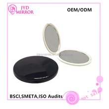 Fancy double sided round compact plastic pocket mirror with flat mirror for perfect suitable pocket