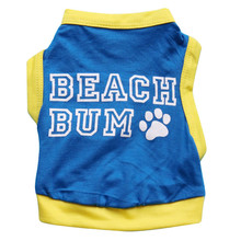BEACH BUM Print Summer Dog Vest Blue Cheap Puppy Clothing