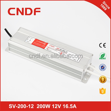 CNDF 12/24VDC 200W IP67 Waterproof LED Driver Switched Mode Power Supply , Switching