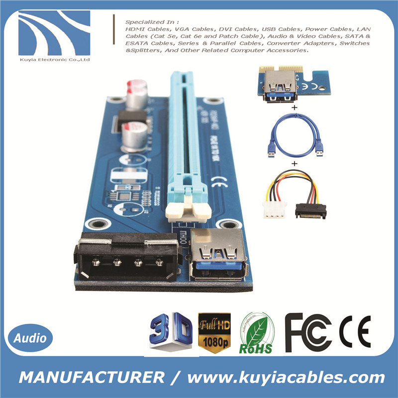 KUYiA USB 3.0 PCI-E 1x Riser Board Express to 16x PCI-E Mining Machine Enhanced Adapter + SATA 15 Pin-4Pin Power Adapter Cable