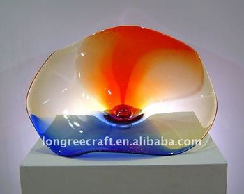 Wholesale Cheap Colorful Decoration LRT172 Art Glass Plate