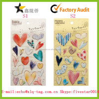 2014 High quality heart shape crystal sticker, photo decoration Epoxy sticker