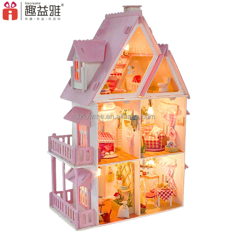 Manufacturer produced colorful miniature doll house DIY wooden european building with furniture and light