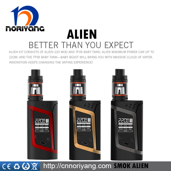 220w Smok Alien Mod fit 3ml smok tfv8 baby tank 220w smok alien kit wholesale