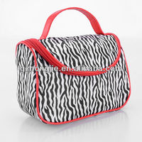 New arrival zebra print cosmetic train case with red pvc piping trim