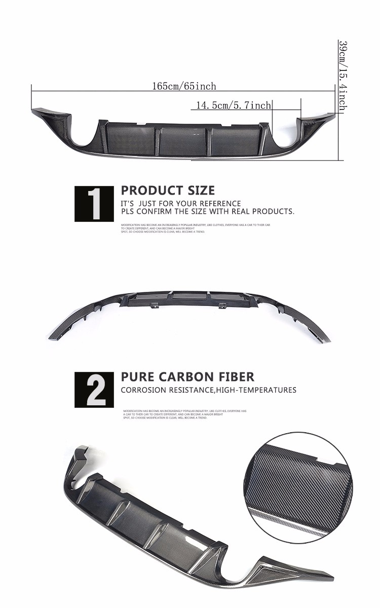 Carbon Fiber Rear Diffuser for VW GOLF VII 7 MK7 GTI S Hatchback 2-Door
