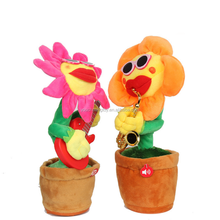 2018 new toy musical sunflower soft toy lighting plush dancing flowers