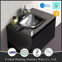 Modern style small szie Smart glass bathroom countertop,vanity top,black color basin
