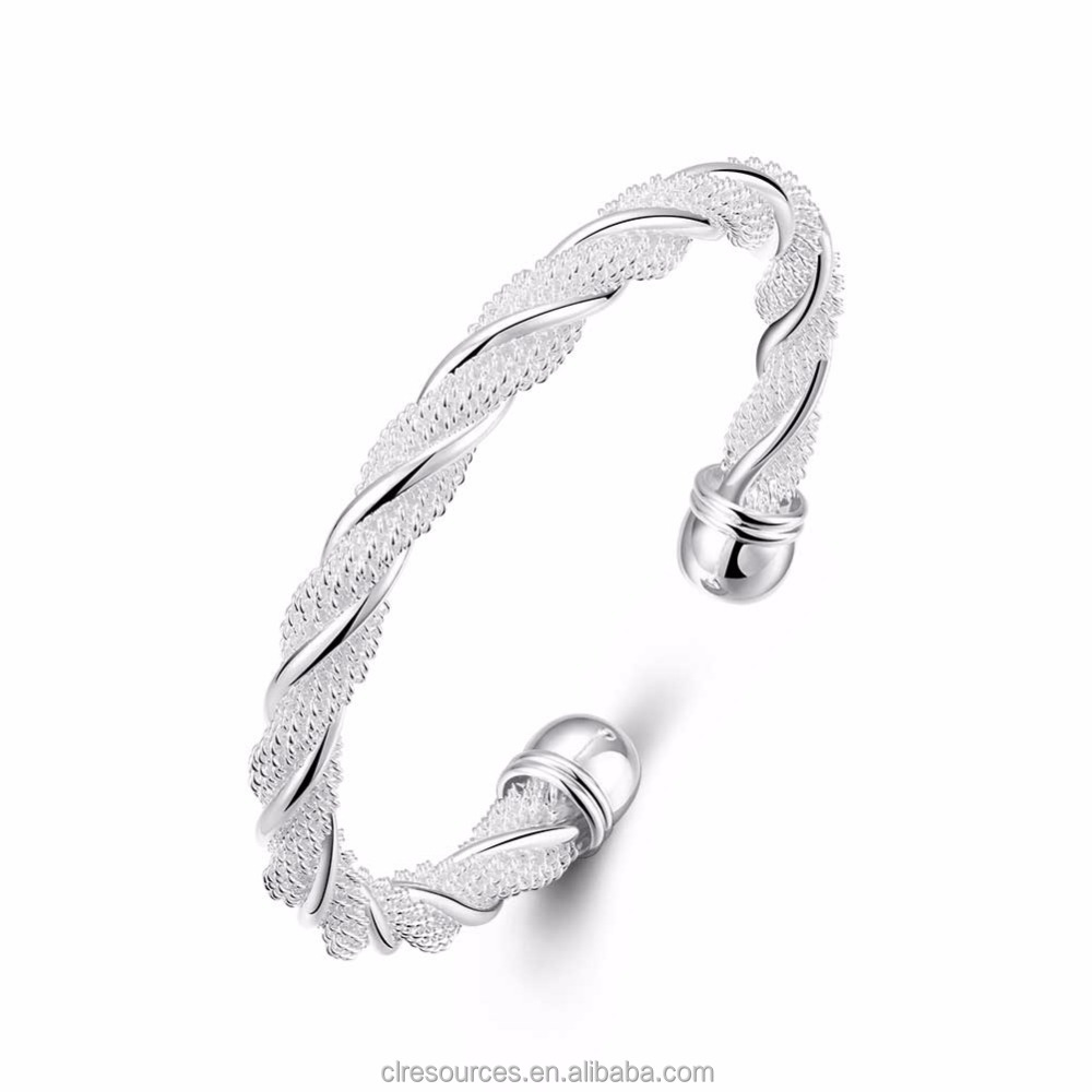Fashion jewelry 2017 latest design silk thread silver plated bangle