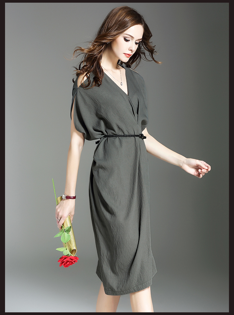 Summer latest design loose V neck off-shoulder short sleeve casual dress lady garment