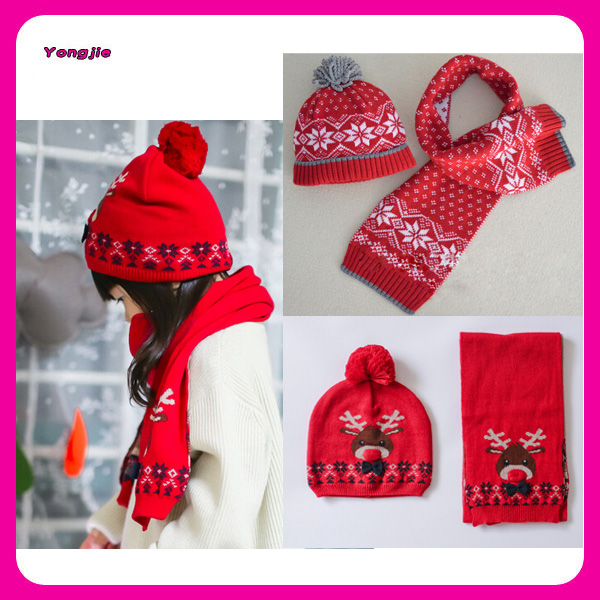 Jacquard Christmas Knitting Kids Winter Hat Scarf Sets,Custom Kids Christmas ...