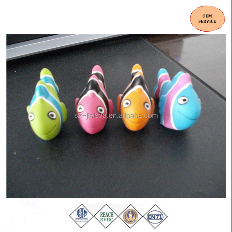 2016 new custom lovely cute soft rubber fish marine animal bath toy for kid