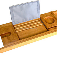 Natural Bamboo Bathtub Caddy With Extending