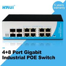 8 port industrial poe ethernet network switch with 4 sfps