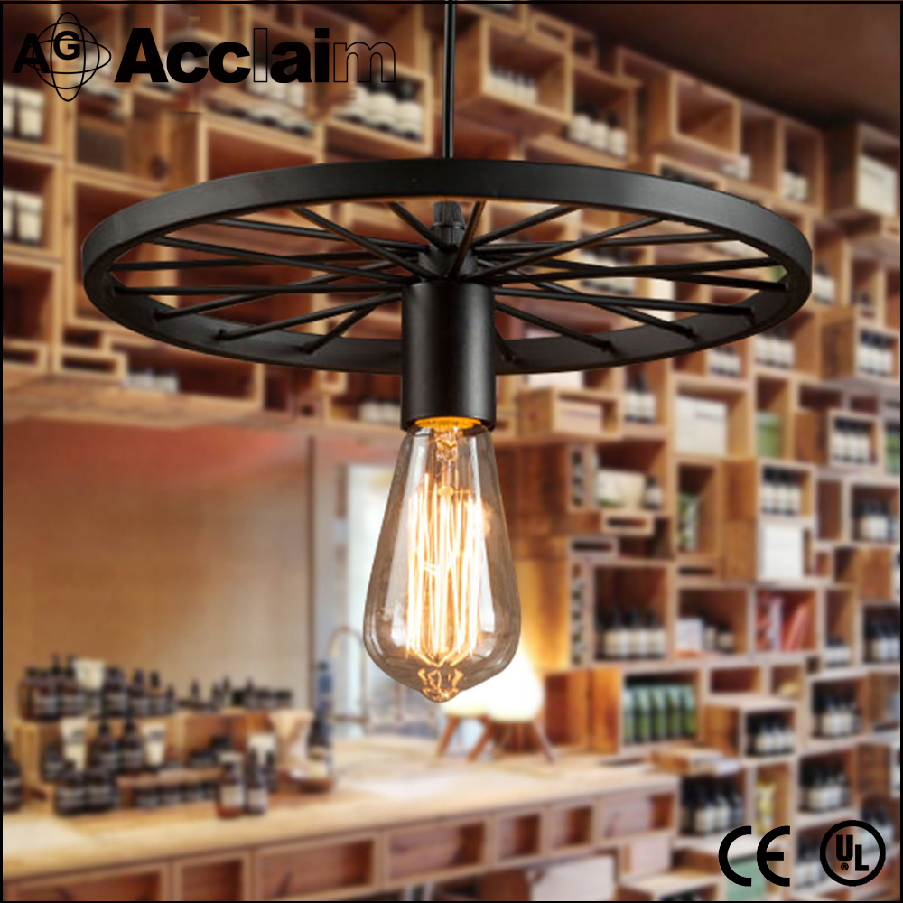 Retro loft bicycle wheel shape large chandelier eight heads ceiling iron pendant lamp