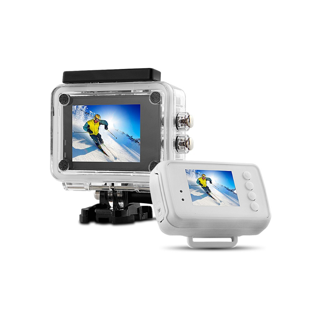 1080p hd sports cam with remote monitor watch,support 64GB memory card ambarella A7 processor sports action camera
