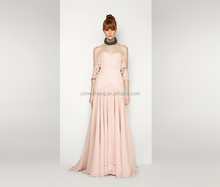 Pink beautiful fancy chiffon women evening dress new style ladies long prom gown