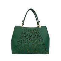 Pierced leather handbag customized women PU bag office lady bag made in China