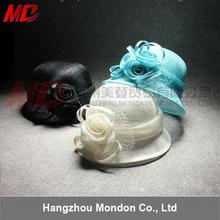 Plain Women church hats wholesale white sinamay for ladies