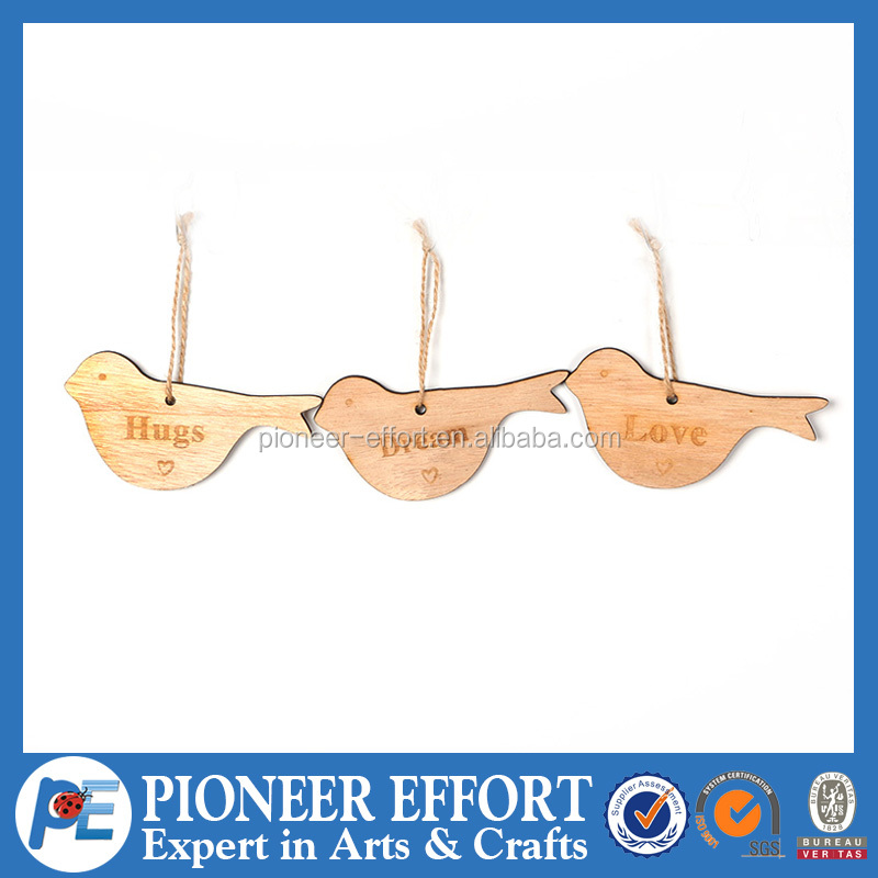 Wooden bird with words hanging ornament for spring decoration