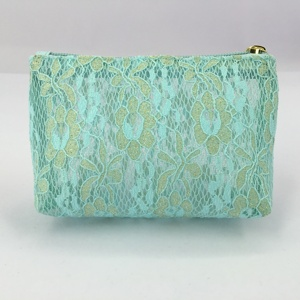 Women Green Flower Lace Polyester Cosmetic Bags Set