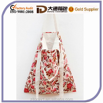 Beautiful Mix Color Flower Printed Cotton Bag Canvas Shoulder Printed Shopping Bag