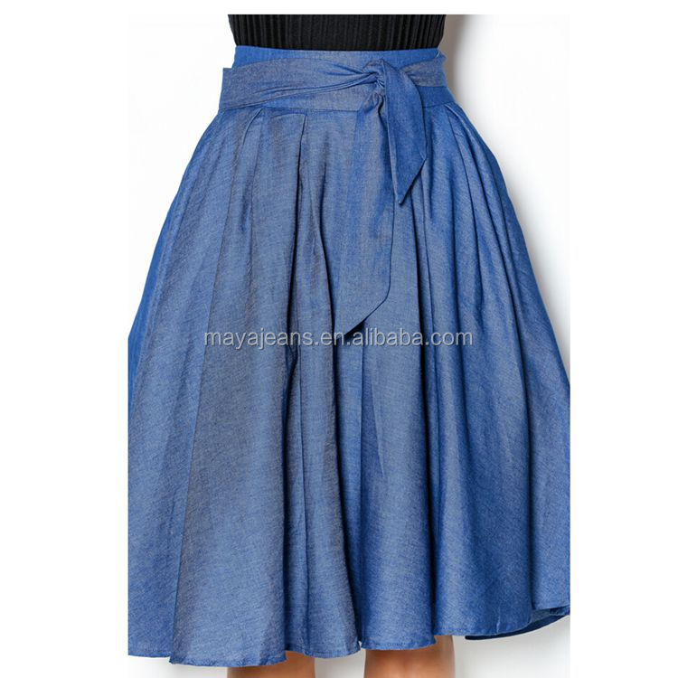 MY-126 Women's Vintage Fitted Cotton Denim Pleated Long denim Skirt