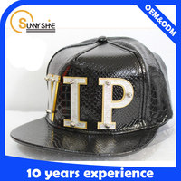 high quality 5-panel custom leather snapback cap/hat with metal plate logo