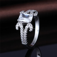MASCOT Square shape crystal rings 925 sterling silver women's jewelry ring