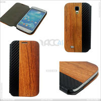 Factory Wholesale Wood+PU Leather Protect Case Cover for Samsung Galaxy S4 i9505/i545, Durable Hybrid PU+Wood Case for Galaxy S4