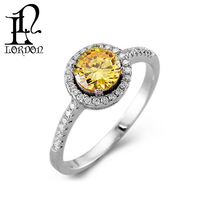 Women 925 Silver Round Yellow Cubic