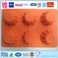 Large 6 Cups Flower Shaped Silicone Muffin Cake Pan Molds