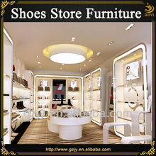 Fashion boots display stand and wood shoes rack for female footwear store furniture