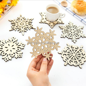 Factory Cheap Sale wooden coaster snowflake shape table mats for Christmas Gifts