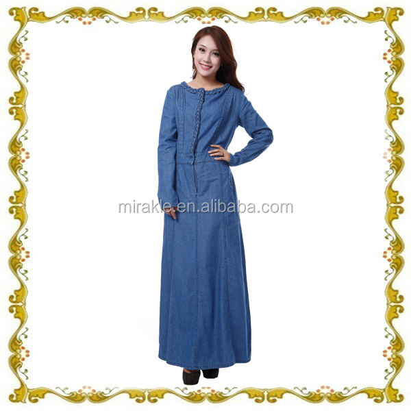 W335 latest design muslim dress ladies overcoat design denim dress abaya long sleeve