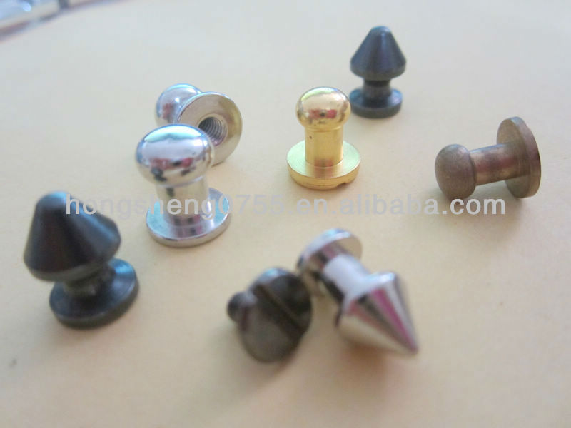 Factory brass button studs, antique brass studs for leather