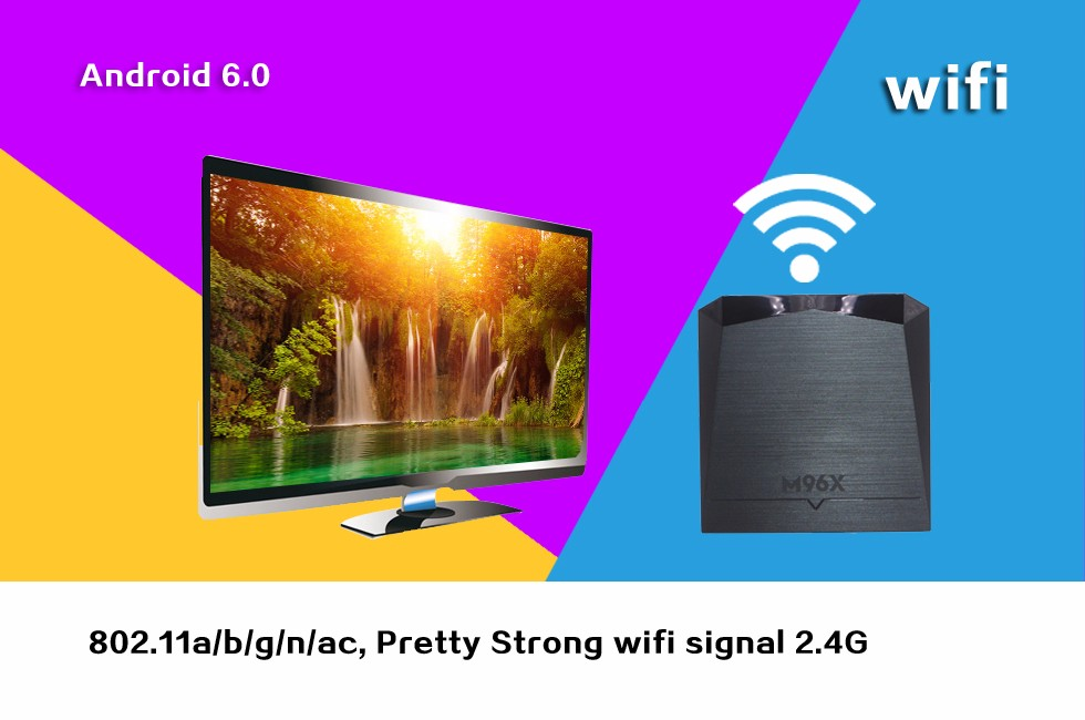 Wechip Android 6.0 tv box Amlogic S905X WIFI 802.11a/b/g/n/ac Android 6.0 Marshmallow TV Box M96X