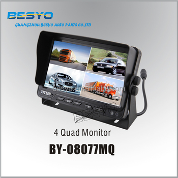 "HD 7""TFT 4quad reversing monitor, CCTV monitor ,Truck and bus monitor rearview camera system BY-08077MQ"